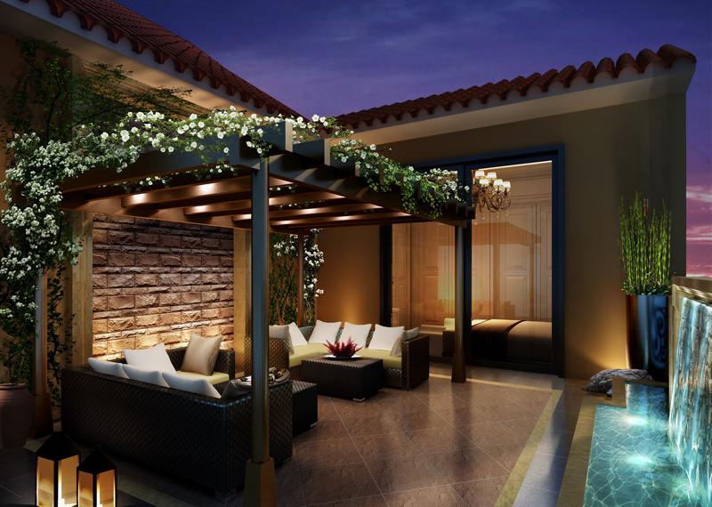 怀化别墅屋顶花园阳台效果图