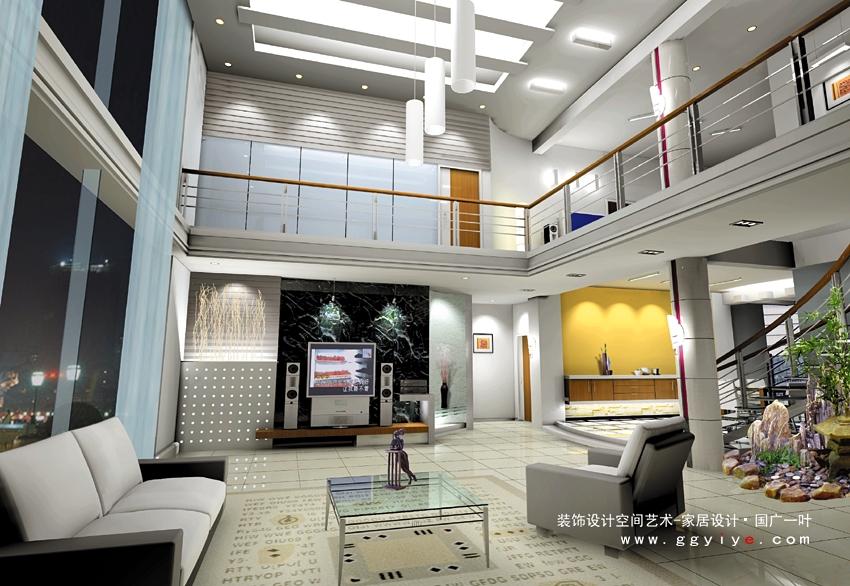 别墅复式客厅楼梯装修效果图