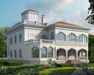 地区风格别墅带走廊和露台