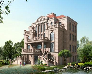 地上架空层双台阶豪华复式别墅