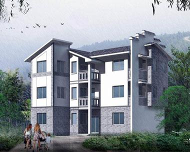 现代中式简洁三层别墅图