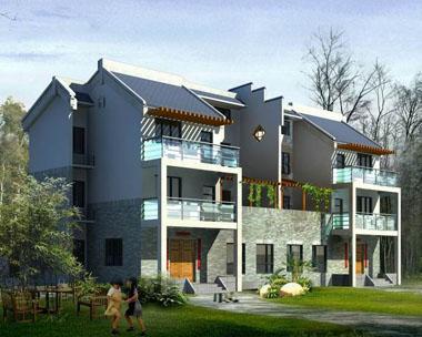 双拼现代新农村精致三层别墅图