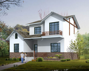中国新农村在建简洁二层别墅图