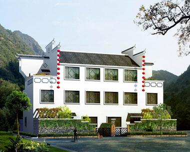 中式带地区特色三层双拼别墅图