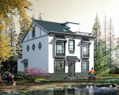 中式二层简洁设施齐全带阁楼别墅图