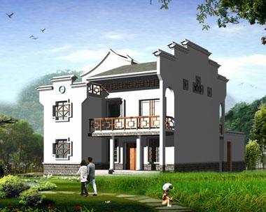 现代新农村中式二层小别墅图