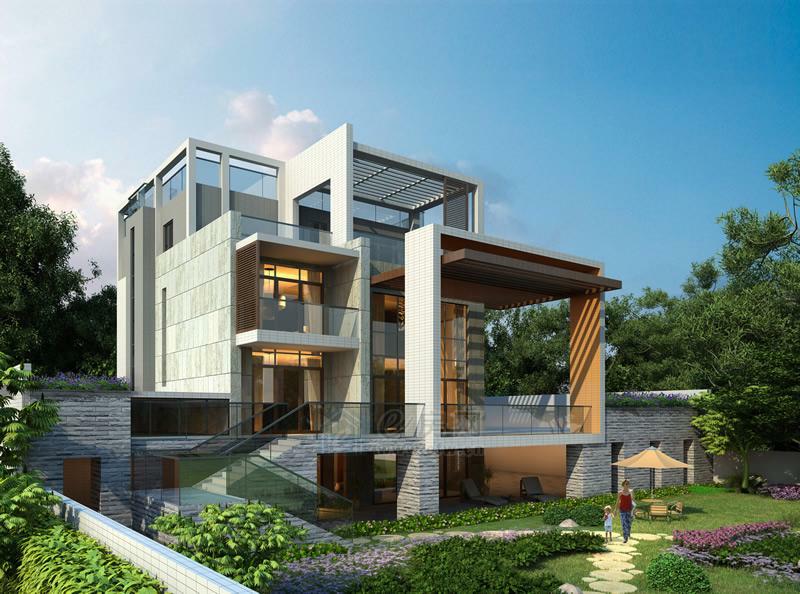 带架空层现代风格别墅效果图