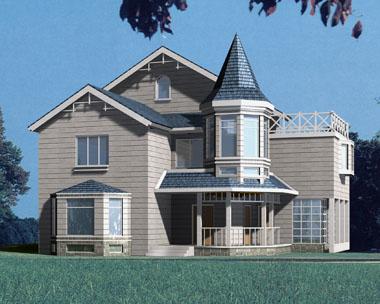 欧美风格二层半带空中花园别墅效果图