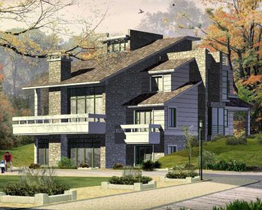 欧式三层经典实用别墅外观效果图