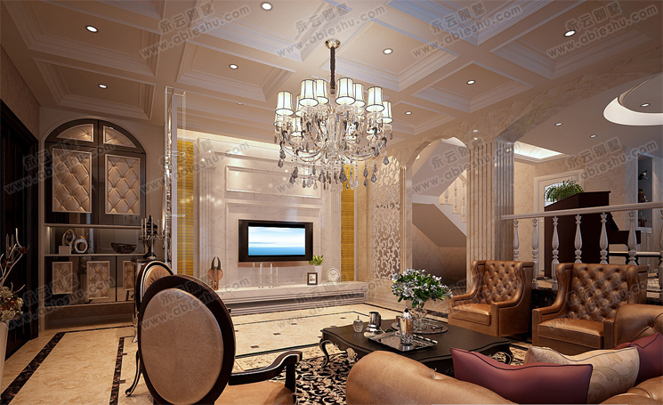现代别墅室内客厅装修效果图