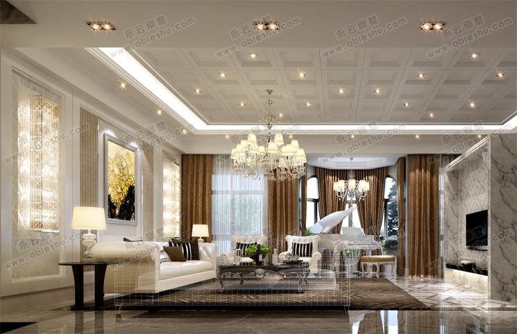 欧式简洁大方室内别墅装修效果图