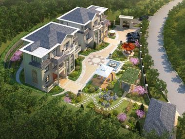 邵阳曾先生兄弟联排私家别墅带庭院花园效果欣赏