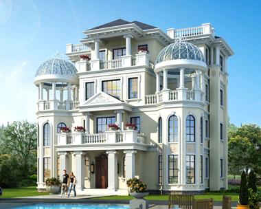 AS035永州肖先生定制设计四层漂亮欧式别墅外观图案例