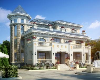 AS080占地241平方米新邵何先生三层复式豪华别墅案例欣赏