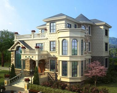 AS091湖北石首市袁先生三层欧式带庭院漂亮别墅设计案例欣赏