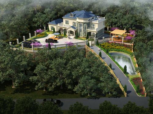 湘乡胡先生私人别墅带地形庭院设计全景案例