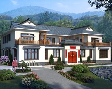AS102娄底谭先生二层新中式四合院别墅设计图纸带2020中式园林效果图