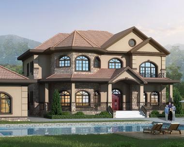 2020新款二层豪华美式风格别墅设计外观效果图美式图片