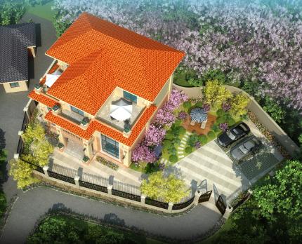 娄底新化张先生私家别墅带院子大门(娄底庭院花园设计案例)