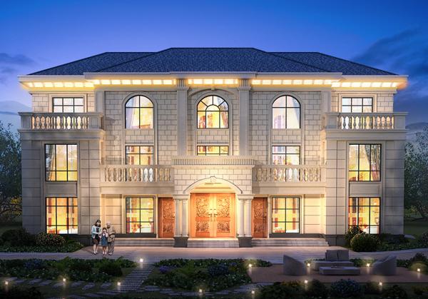 永州周氏兄弟三层豪华带夜景双拼别墅设计案例图欣赏