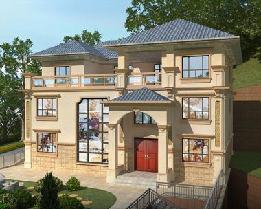 安化县龙总带门面占地208平方米三层别墅设计效果图欣赏