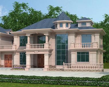湘潭伍总带堂屋二层兄弟联排别墅设计外观效果图欣赏