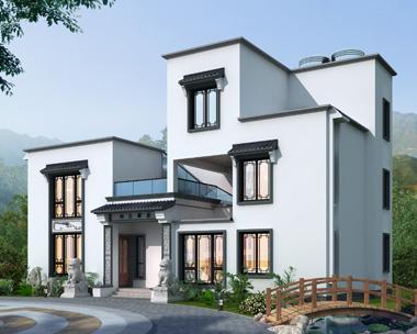 总建筑面积仅300平米的新中式小别墅设计外观案例图欣赏