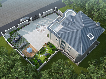 广东普宁温先生私家别墅花园景观设计案例