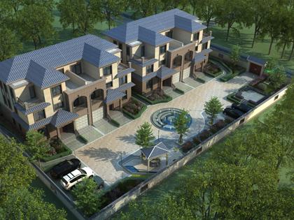 河北沧州市高家双拼别墅带园林景观设计案例