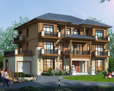 永州罗总中式风格带车库及旋转楼梯三层别墅设计案例(首层面积246平米)