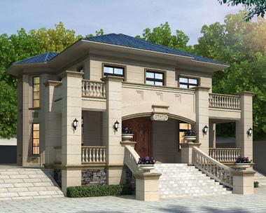 岳阳王先生二层简欧式别墅带院墙设计案例(首层面积153平米)