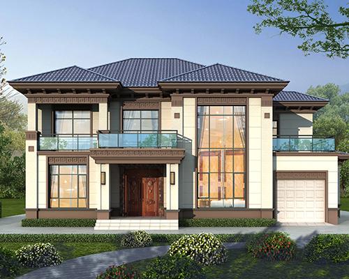 湘潭宋先生占地205平米二层新中式风格带车库别墅案例图欣赏
