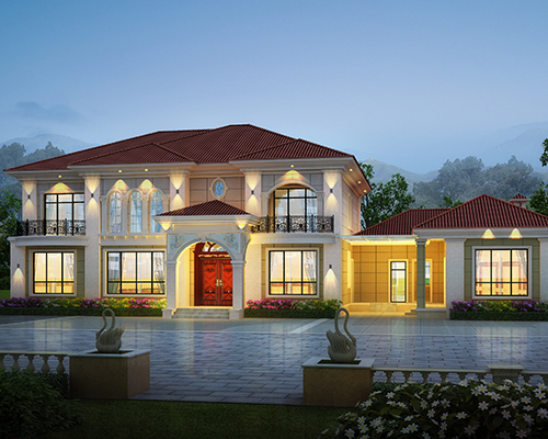 【设计案例】长沙县郑先生二层带附楼总建筑面积520平米别墅设计欣赏