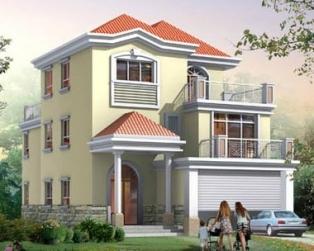 AT931欧式三层双车库复式客厅别墅建筑设计图纸 9.5m×16.6m