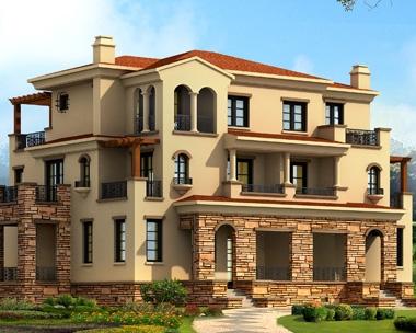 永云别墅图纸超市642三层西班牙风格联排别墅住宅建筑施工图20m×16m