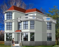 [永云别墅]AT990三层坡屋顶现代复式客厅小别墅设计图纸11mx12m