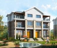 [永云别墅]AT022三层联体现代别墅新农村住宅设计图纸及效果图