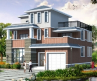 AT973新农村带车库露台三层小康别墅建筑设计方案图纸13m×12m