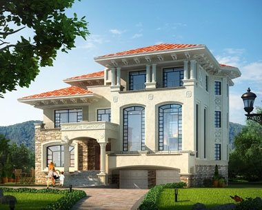 永云AT070三层复式双车库豪华别墅设计全套施工图纸16.2m×15.6m