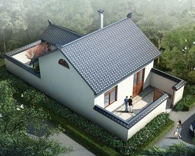AT232一层中式前后院自建农村一层小别墅设计全套图纸6.9mx13.9m