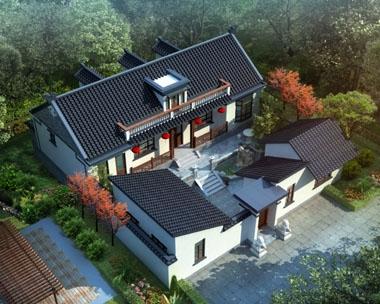 占地332平方AT227一层半中式小四合院别墅建筑设计图纸17.58mx18.9m