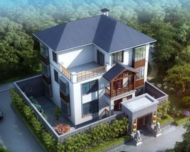 永云别墅AT246三层现代中式豪华别墅全套设计图纸12mx10m