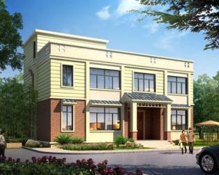 永云图纸AT247二层平顶现代新别墅农村设计图大众方向盘别墅图片