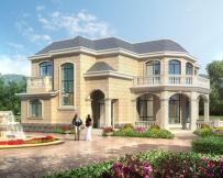 【带装修图纸】AT1741二层欧式带观景台及阳光房别墅图纸15.7mx16m