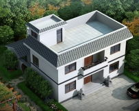 AT1607带内庭院二层简约实用平顶房屋设计全套图纸11.1mX12.3m