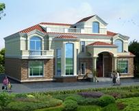AT1759二层简欧带屋顶花园复式楼中楼别墅设计全套图纸19.1mX14.1m