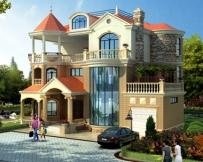 AT1775新农村私人漂亮三层带车库复式楼中楼别墅设计施工图纸18mX15.5m