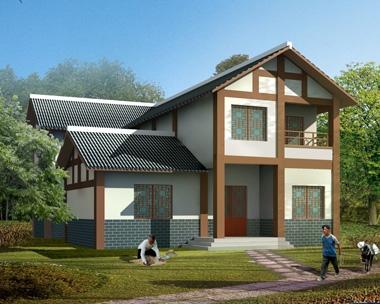 川西中式风格AT1770二层带车库民族特色小别墅设计图纸14.1mX15.9m