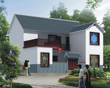 AT1767二层前后院中式新农村自建小别墅设计施工图纸12.9mX13.5m