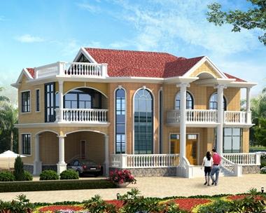 AT1790漂亮二层简欧带车库复式楼中楼别墅设计施工图纸18.9mX16.2m